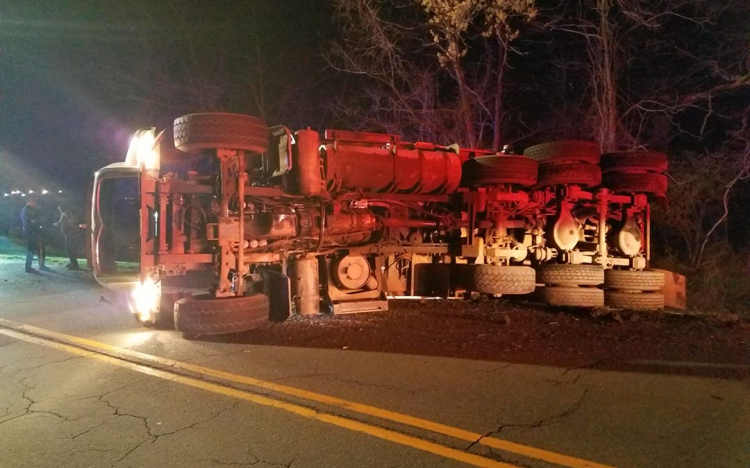 Overturned Truck on Trap Rock Industries Entrance Road